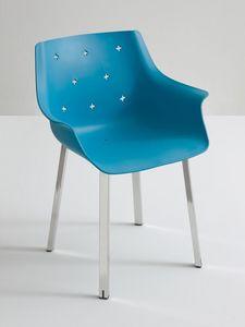 More NA, Chaise avec accoudoirs, base en métal chromé, pour la face extérieure