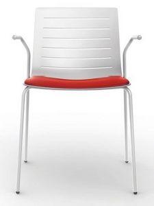 Slim 01A, Chaise empilable avec accoudoirs idéal pour salle de conférence