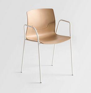 Slot TB, Chaise avec bras en métal, coque de polymère