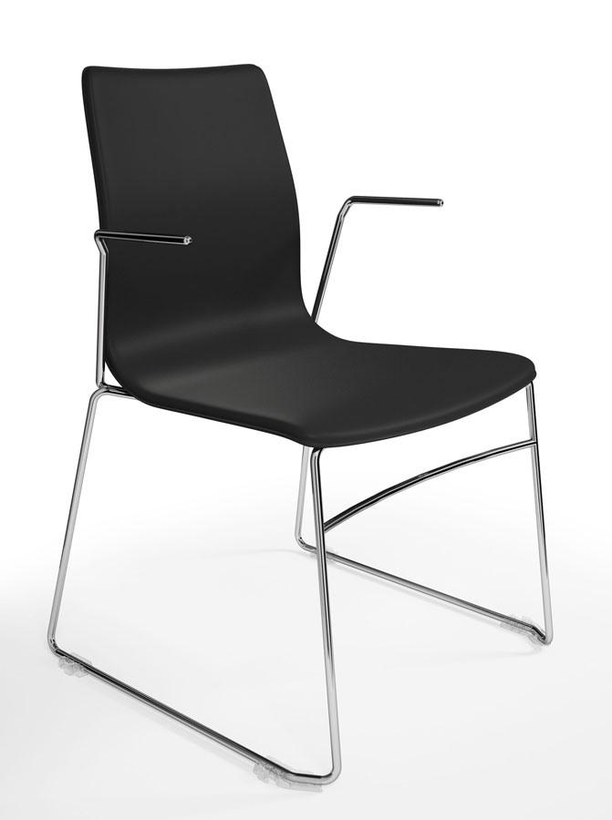 WOODY ELITE, Chaise empilable qui peut être équipé avec tablette écritoire, affiné le design italien, des salles de conférence et de bureau
