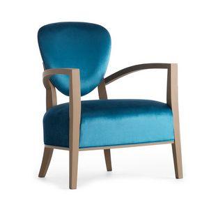 Cammeo 02641, Fauteuil en bois massif, assise et dossier rembourrés, revêtement en tissu, style moderne