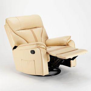 Fauteuil relax à bascule inclinable et rotation à 360° en similicuir SISSI - SR683PEE, Fauteuil relax avec système à bascule
