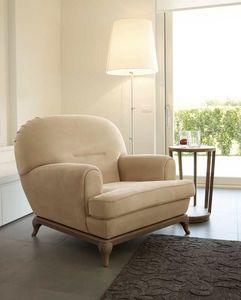 Massenet fauteuil, Fauteuil arrondi avec base en bois