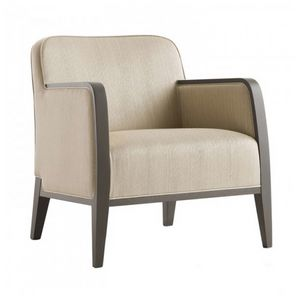Opera 02241, Fauteuil en bois massif, assise et dossier rembourrés, revêtement en tissu, style moderne