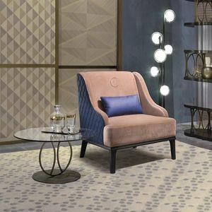 PO65 Square fauteuil, Fauteuil confortable avec dossier en texture de laisse de rhombus.