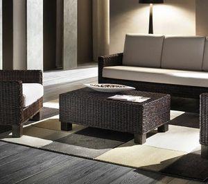 Table basse Verano, Table basse rectangulaire avec structure tissée