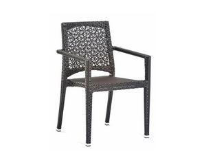 Altea chaise à bras, Chaise d'extérieur avec accoudoirs, tissage en fibre synthétique