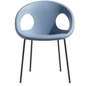 Drop V, Chaise moderne en métal et technopolymère, empilable, pour jardin