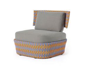 Kente chaise à bras, Fauteuil d'extérieur moderne, tissage en fibre synthétique