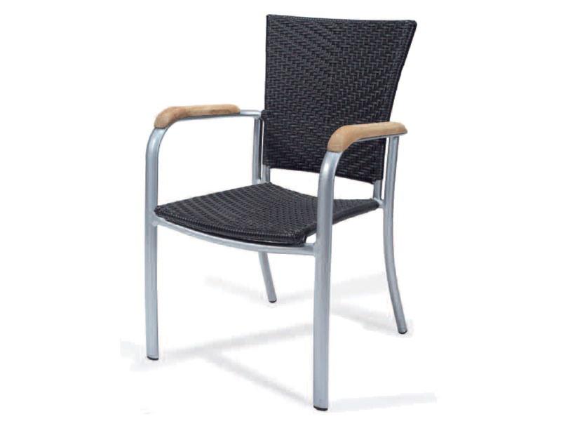 PL 400, Chaise tissé avec accoudoirs en aluminium, garnitures en bois