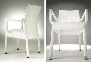 PL 900, Chaise empilable moderne avec accoudoirs, pour les salons de crème glacée