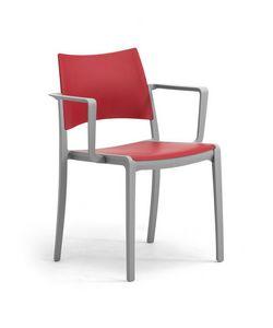 Staky, Chaise empilable avec assise et dossier en polypropylène
