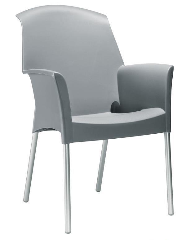 Super Jenny, Chaise empilable pour usage extérieur, en technopolymère et de l'aluminium