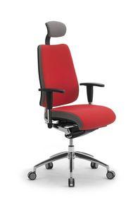 DD Dinamica high executive 53702, Chaise de bureau sur roulettes, avec appui-tête