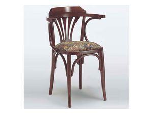 121 T, Chaise rustique avec accoudoirs, bois courbé, pour la maison