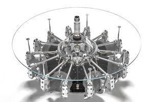 AIR-TAV0113, Table basse ronde avec plateau en verre