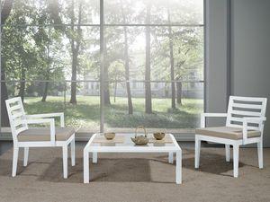 Compléments Petite Table Verre 01, Table basse avec base en bois et plateau en verre