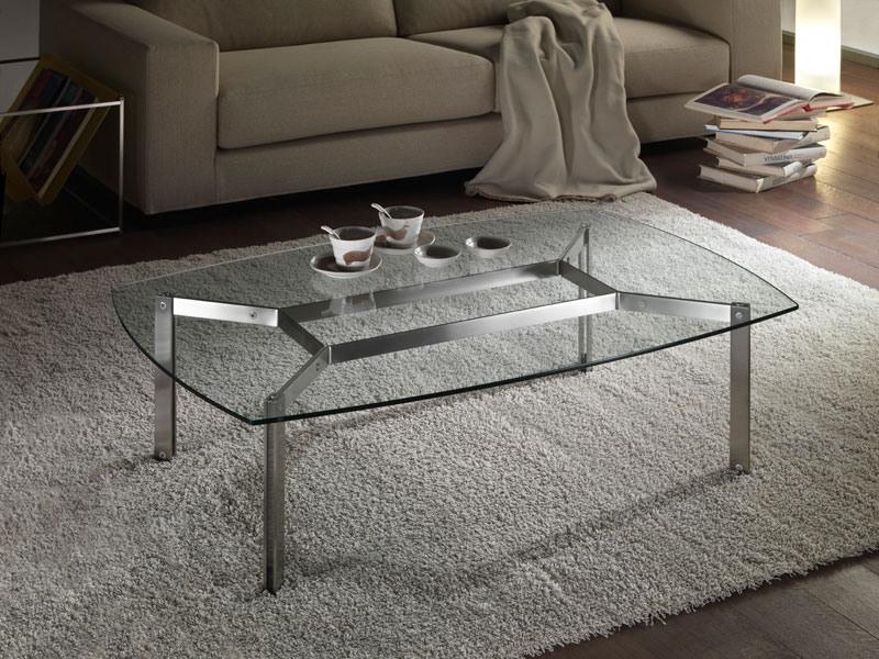 Haiti coffee table, Table basse rectangulaire en verre pour salles de séjour, coins arrondis