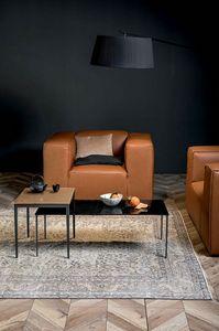 MAISTRI, Petites tables avec structure en métal et plateau en bois ou verre fondu