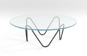 Suono, Table basse avec structure en métal et plateau en verre