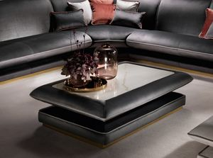 ALLURE table basse, Table basse rembourrée, avec plateau en grès cérame