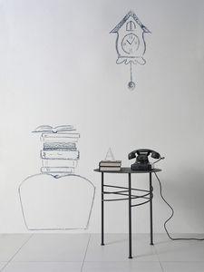 Ariel table, Petite table en métal linéaire pour salle d'attente et le bureau