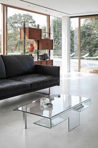 ARIES TLC07, Table basse en verre avec pieds en métal chromé
