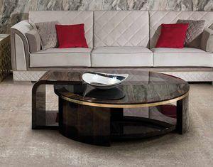 ART. 3337, Table basse avec plateau rond en verre fumé