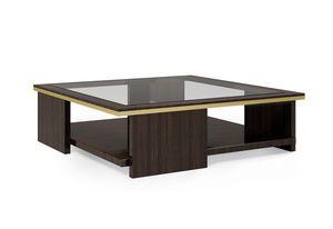 ART. 3367, Table basse carrée avec plateau en verre fumé
