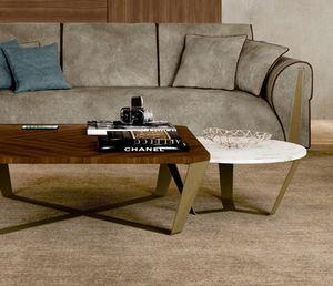 ART. 3449, Table basse ronde avec plateau en marbre