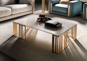 ATMOSFERA table basse, Table basse en métal avec plateau en marbre