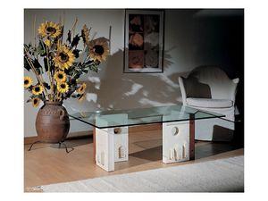 Celeste, Table basse avec structure en pierre, de style moderne