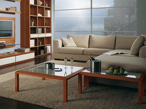 Complementi Tavolino Vetro 02, Table basse en bois et en verre, pour le hall centre