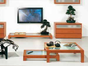 Complementi Tavolino Vetro 09, Table basse en bois et en verre, en matériaux durables