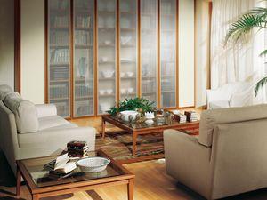 Compléments Petite Table Verre 07, Table avec base en bois et plateau en verre clair