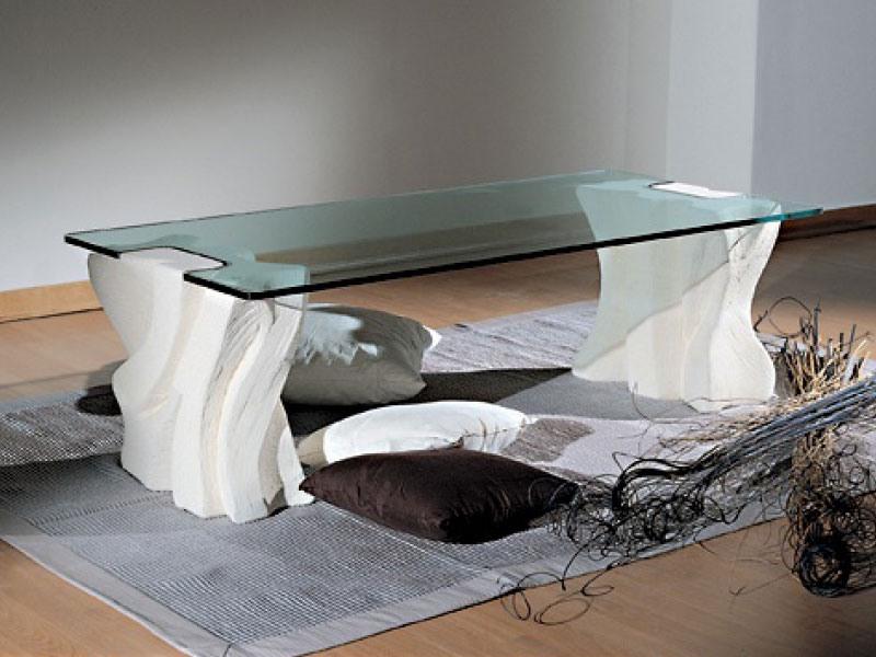 Contrasto Sagomato, Table basse élégante pour salles de séjour, pierre et verre