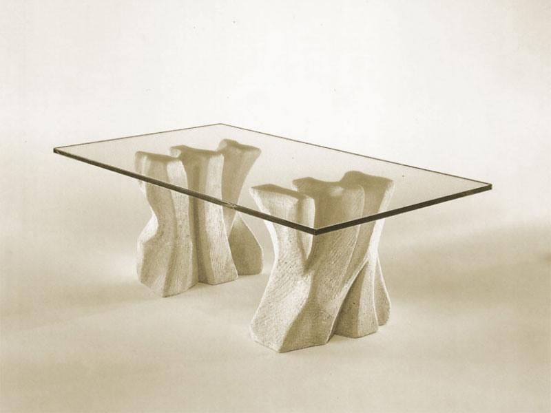 Contrasto, Pierre table basse pour la maison avec plateau en verre