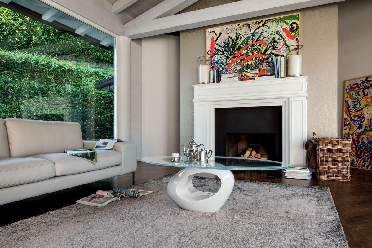 DUBAI, Table basse avec base en marbre, haut elliptique en verre trempé