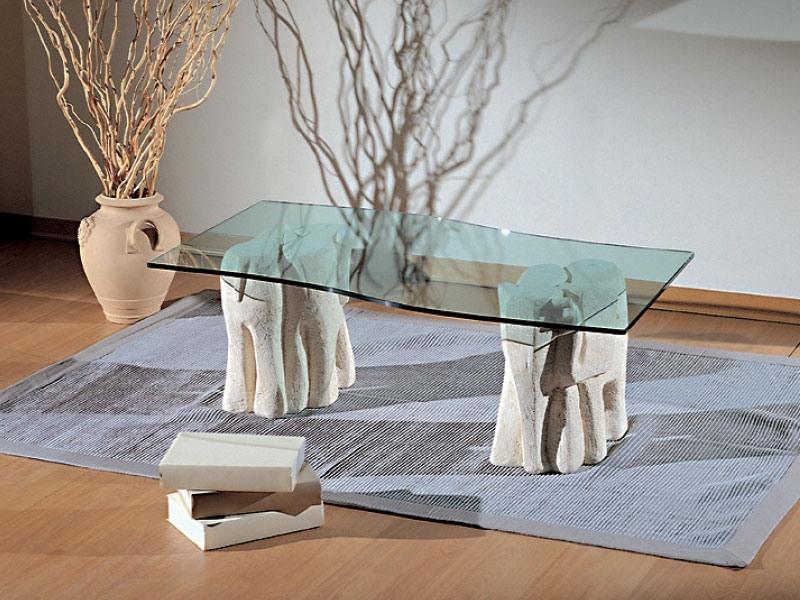 Elefantini, Table basse pour les salons, de la pierre et le verre