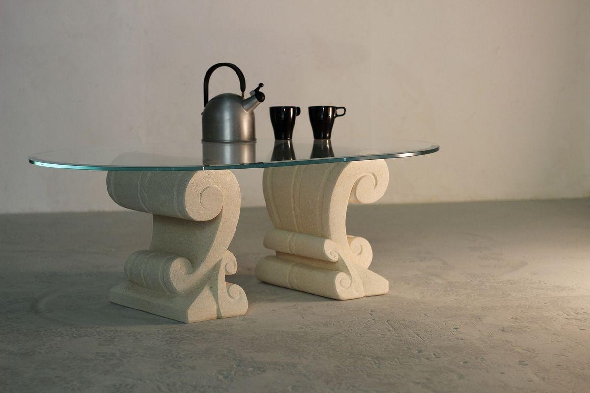 Eliseo, Table basse avec base double en pierre sculptée à la main