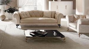 George table basse, Table pour hall central, plateau en verre, pieds en aluminium