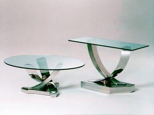 Giverny, Table basse avec base en acier inoxydable, en verre trempé