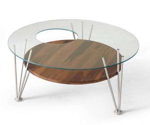 H-121, Table basse avec plateau en verre rond