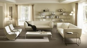Iseo table basse, Table pour hall central, en aluminium et en bois revêtu