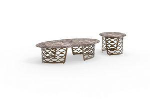 Isidoro, Table basse avec plateau en forme dans la pierre, à base de fer pour les salles de vie modernes