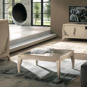 Luna LUNA5049, Table basse carrée avec plateau en verre