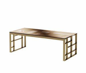 Matrix table basse rectangulaire, Table basse rectangulaire, fini métal antique en bronze