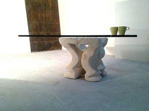Omini table basse, Table basse pour la maison ou au bureau, avec le pilier en pierre