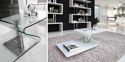 PAVONES, Table basse moderne en verre bombé, base en métal