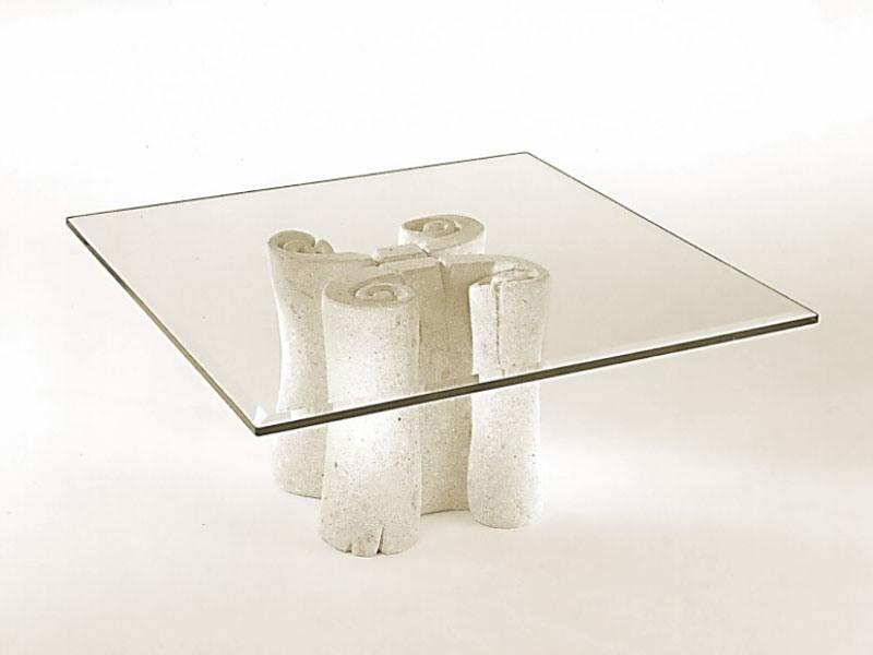Pergamena, Table basse avec plateau carré en verre, base en pierre